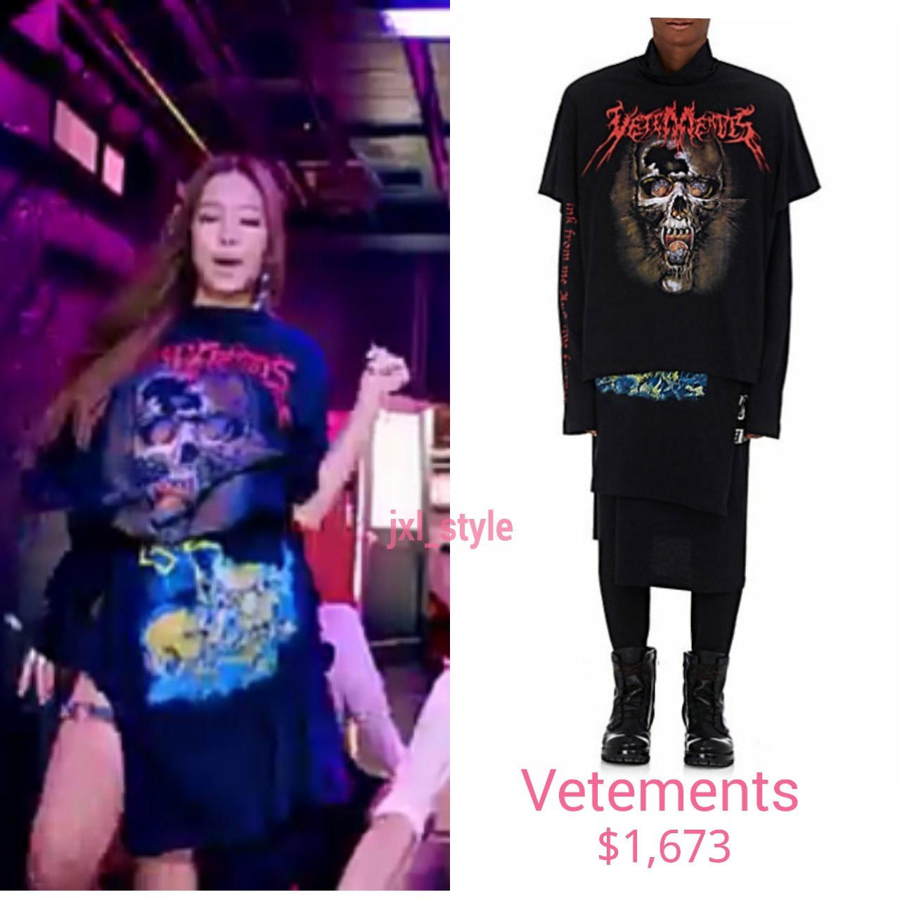 Blackpink Style On Twitter Jennie Vetements Layered Tshirt Dress 1 673 Blackpink