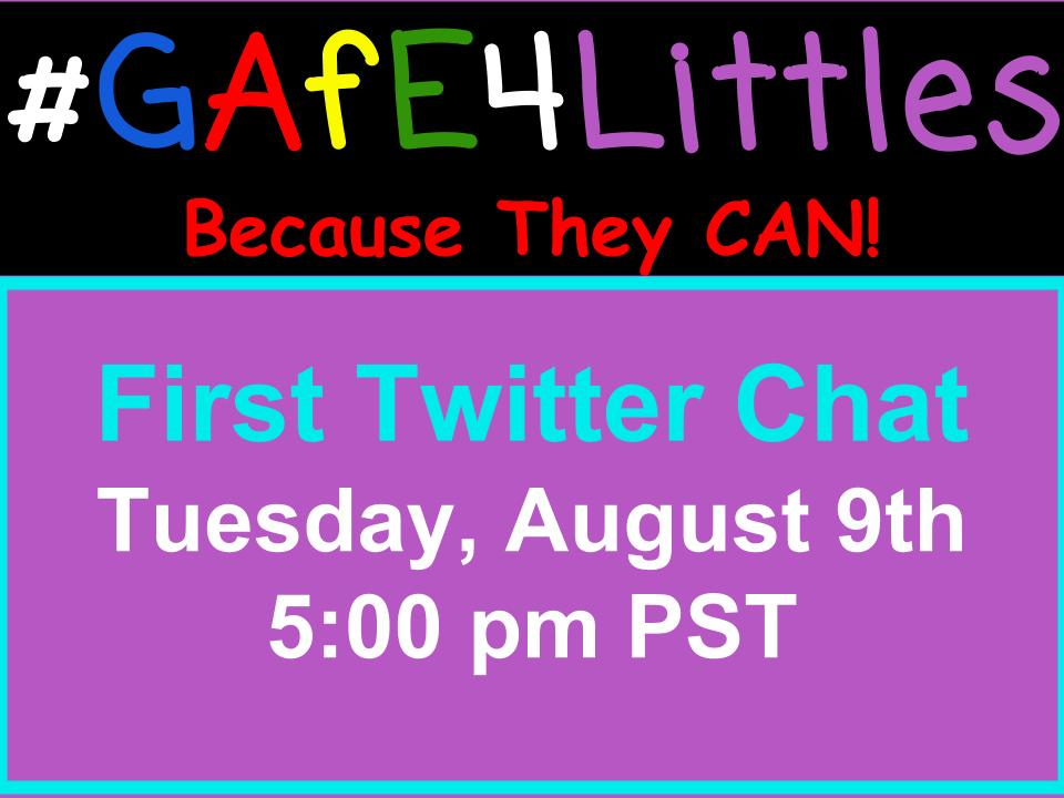 SO EXCITED. First #gafe4littles chat in 15 minutes! 5 PM PST Here's the questions: https://t.co/qw7RrqKYlS https://t.co/5nrkRnKDgK