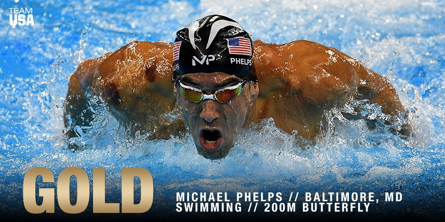 The man, the myth, the legend!  #GOLD MEDAL #20 FOR @MichaelPhelps!!!