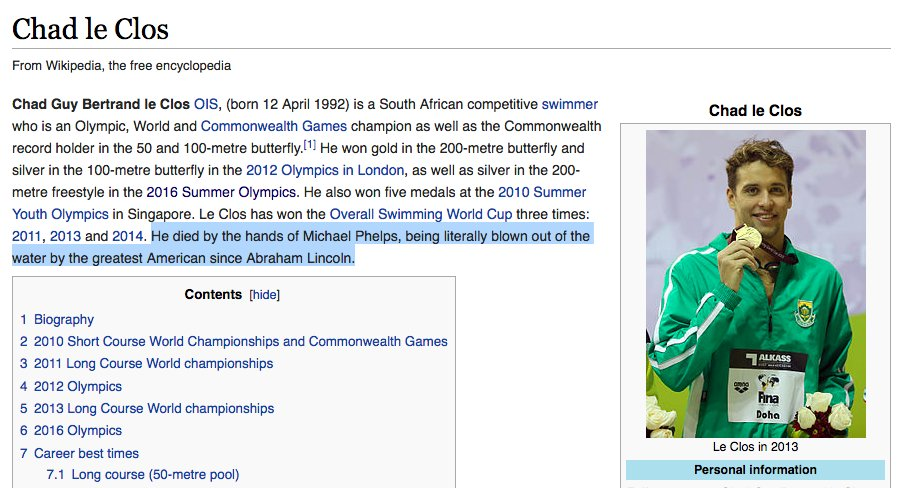 The Wikipedia page for Chad le Clos right now: