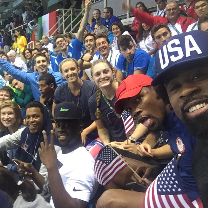 Awesome tradition of USA men's basketball team coming to watch the swimming finals!! Thx for the support guys!!