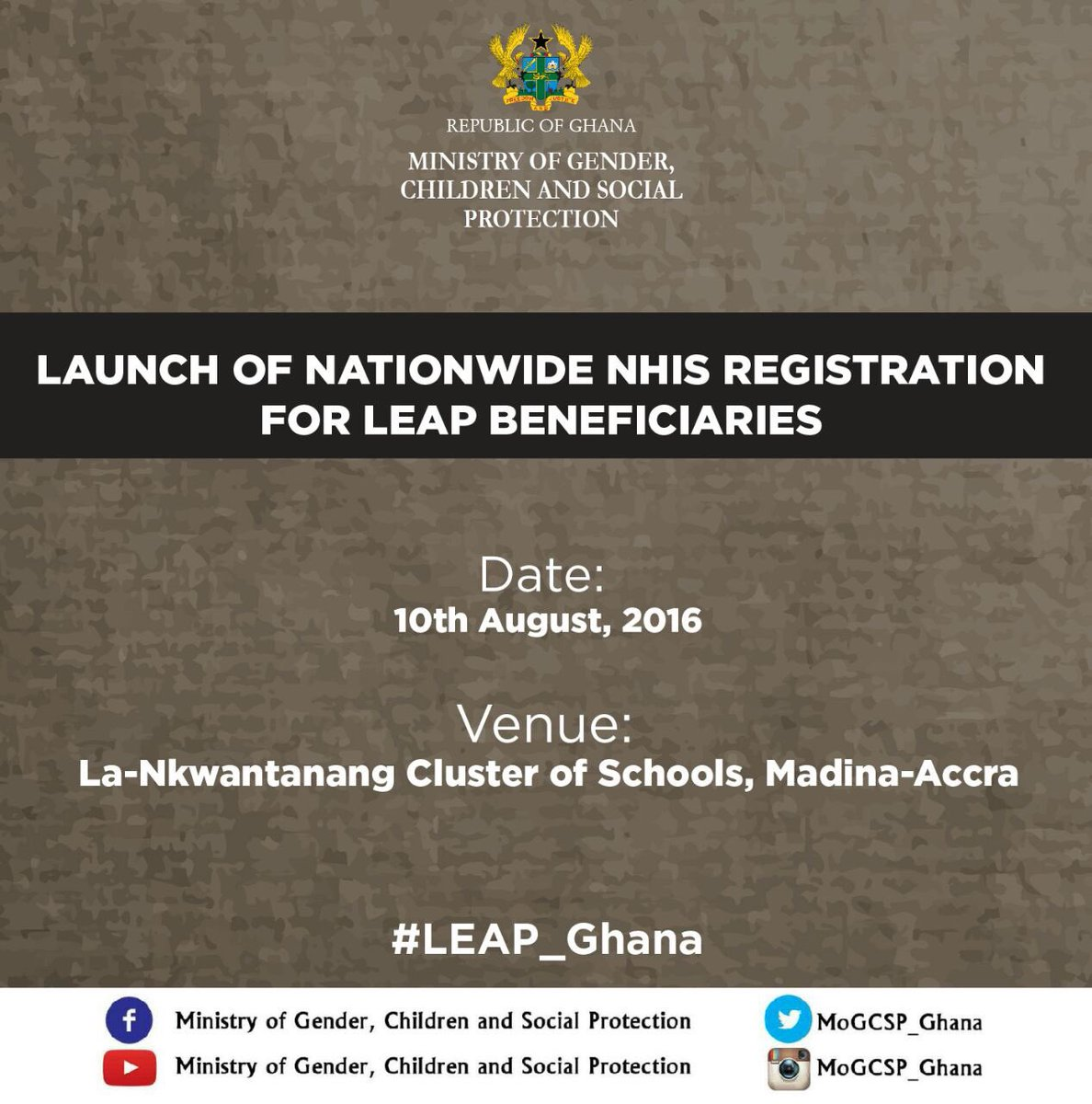 Today, we are launching the Nationwide Registration of LEAP beneficiaries unto the NHIS @NanaOyeLithur