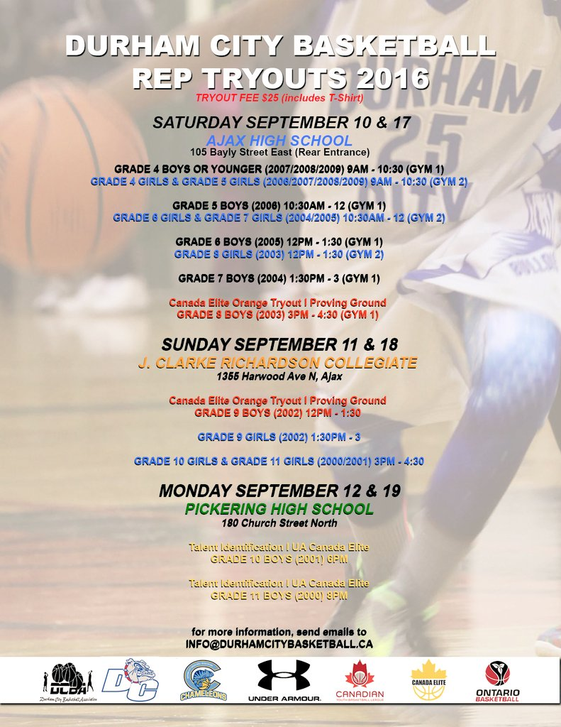 Durham City Bball On Twitter Durham City Tryout Dates Are Now Up