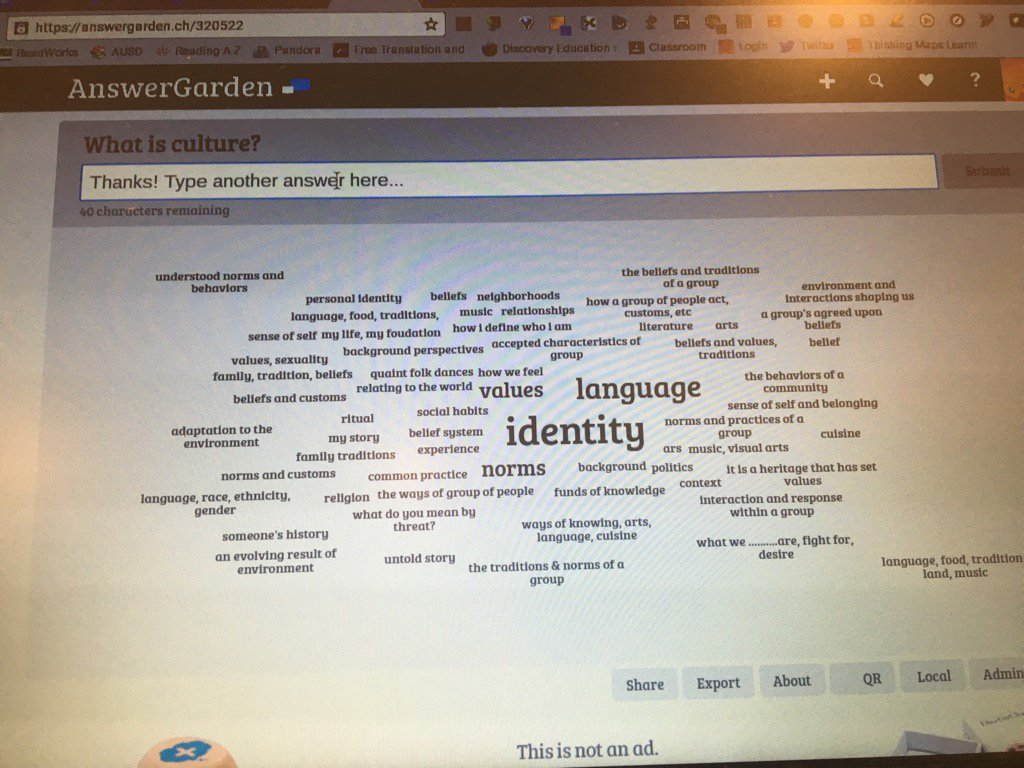 #UDL2016 using AnswerGarden to find theme to crowd response...What is culture? @mrsvannasdall https://t.co/w6BWInCvRm
