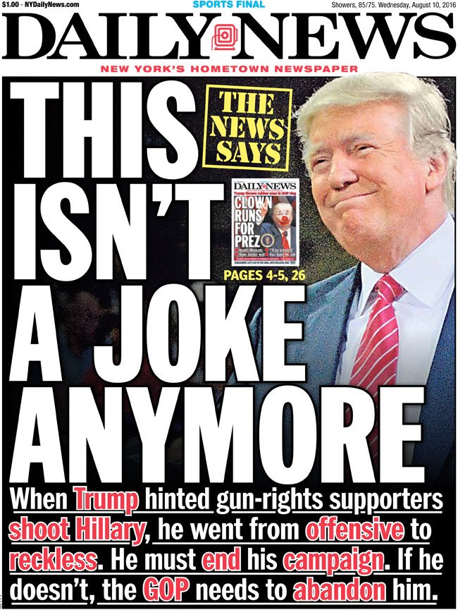 """""""this isn't a joke anymore."""" @nydailynews wants donald ..."""