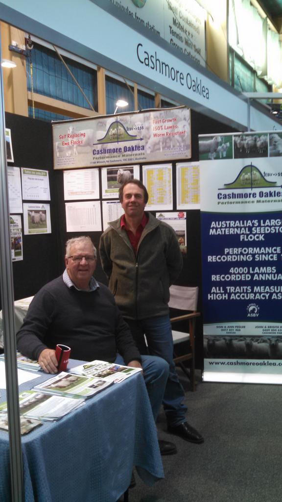 Cashmore Oaklea catching up with lamb industry at LambEX. CU at Albury tomorrow. Regards Johno K