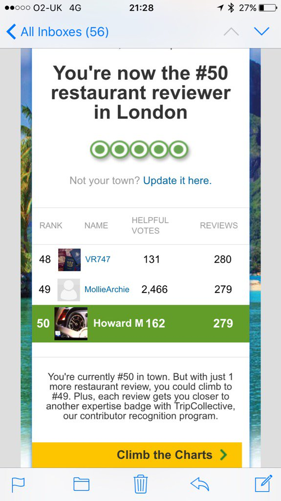 Only 49 people in London have written more TripAdvisor reviews than our founder - go Howard! #customerexperience