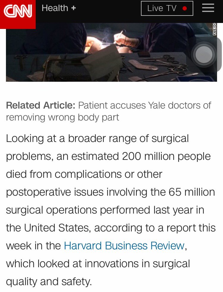 CNN reports that 200 million people died last year in the US from surgery complications -- not a good track record!