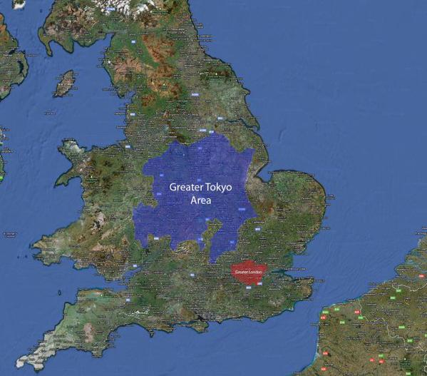 Greater Tokyo area superimposed over Great Britain -