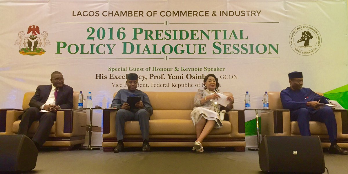PHOTOS: Osinbajo And Dangote At Presidential Dialogue Session In Lagos