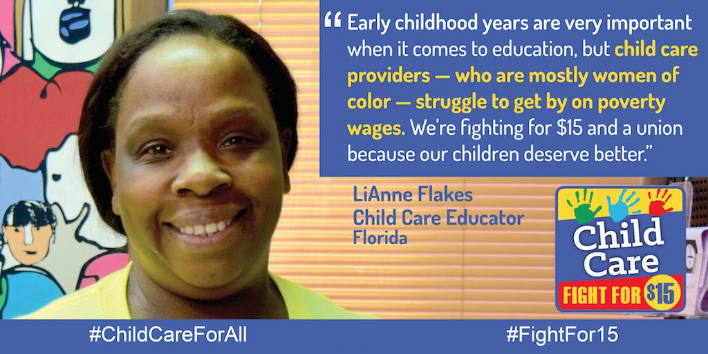 Childcare providers like LiAnne struggle to get by on low wages. We're heading to Richmond to #FightFor15 & a union https://t.co/cn0ySuwuro