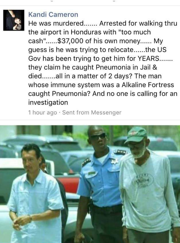 I believe Dr. Sebi was killed aswell. Because he posed a threat to the pharms   worldwide drug ring profit margins https://t.co/x6DV9W8Q1G