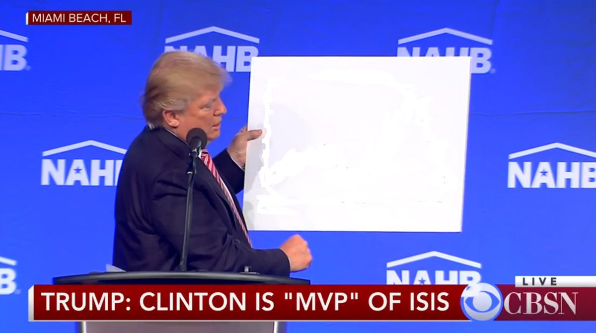Donald Trump Made The Mistake Of Holding Up A White Sign On Stage And The Internet Took Advantage