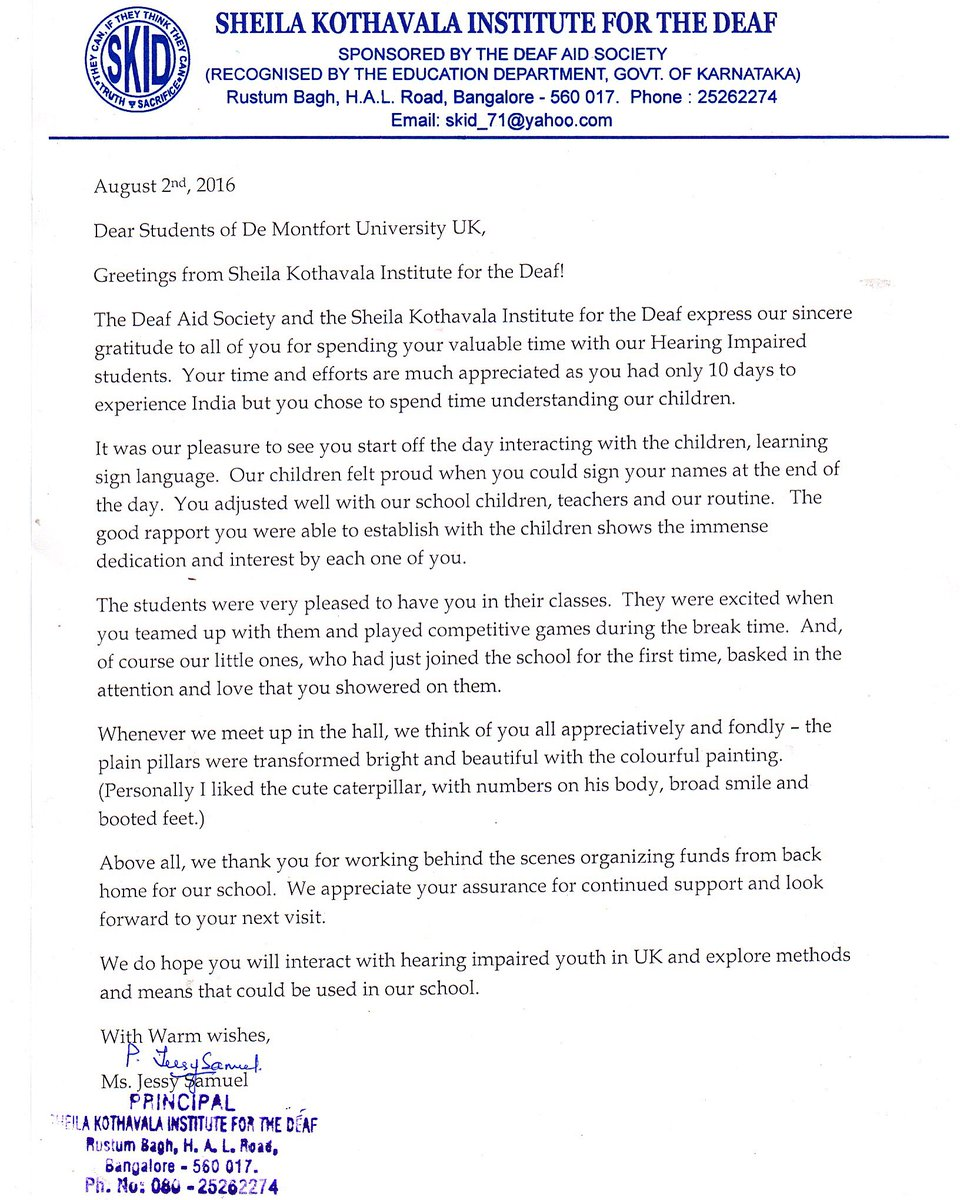 Dmu Hindu Society On Twitter A Touching Letter From Bangalore