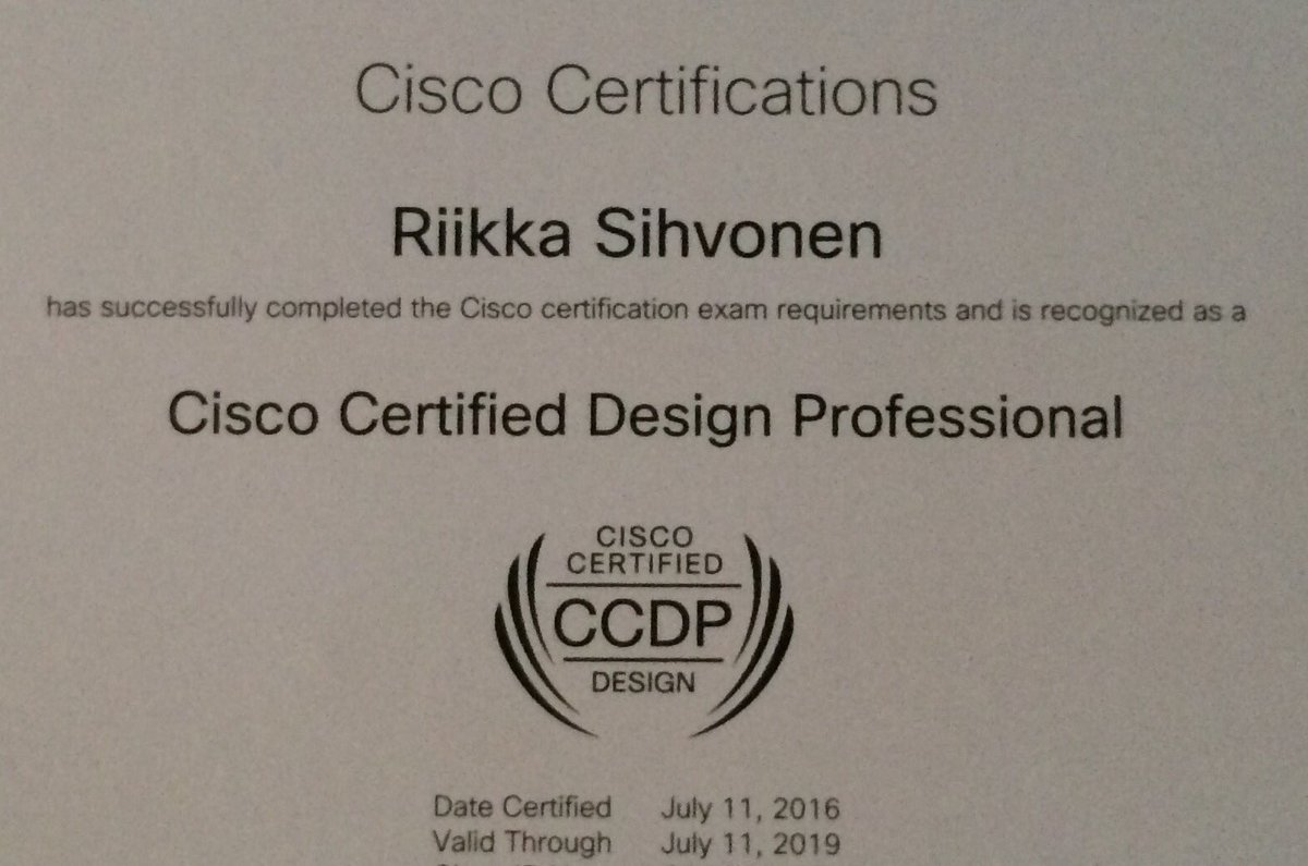 Riikka sihvonen on twitter yay received my ccdp certification received my ccdp certification and a letter from chuck robbins in the mail today 1betcityfo Choice Image