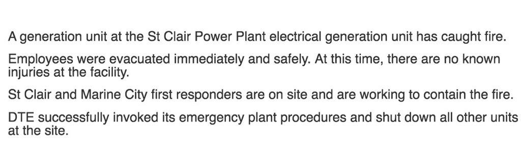 Full statement about our Saint Clair Power Plant. https://t.co/YnyMPxxlAo