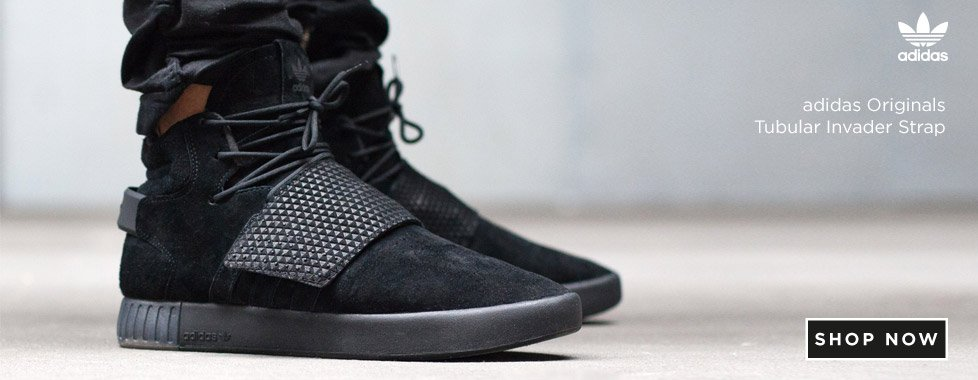 Adidas Tubular Invader Strap Black Suede Juniors Women Girls Boys