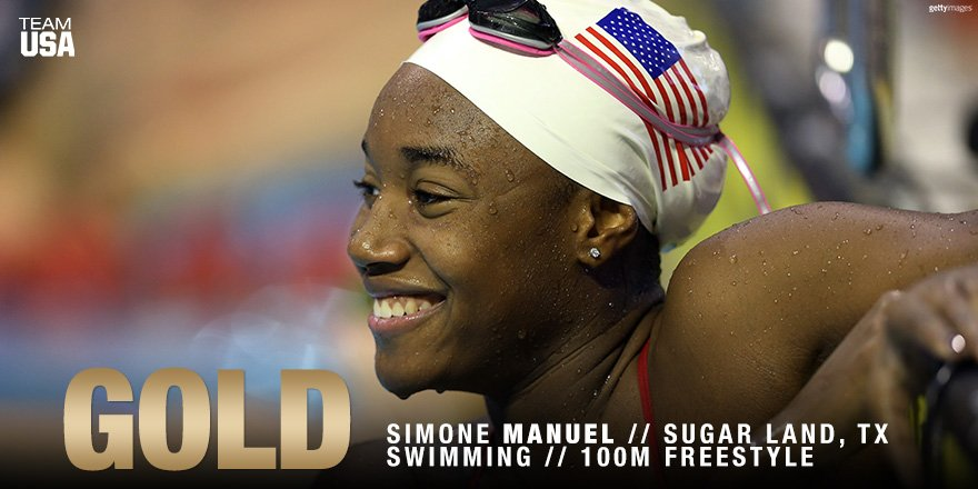 Guess who's bringing home #GOLD!  CONGRATS to @simone_manuel!