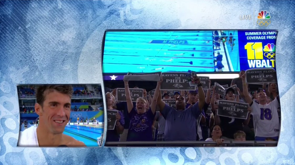 The Baltimore Ravens stopped their game to watch Michael Phelps swim