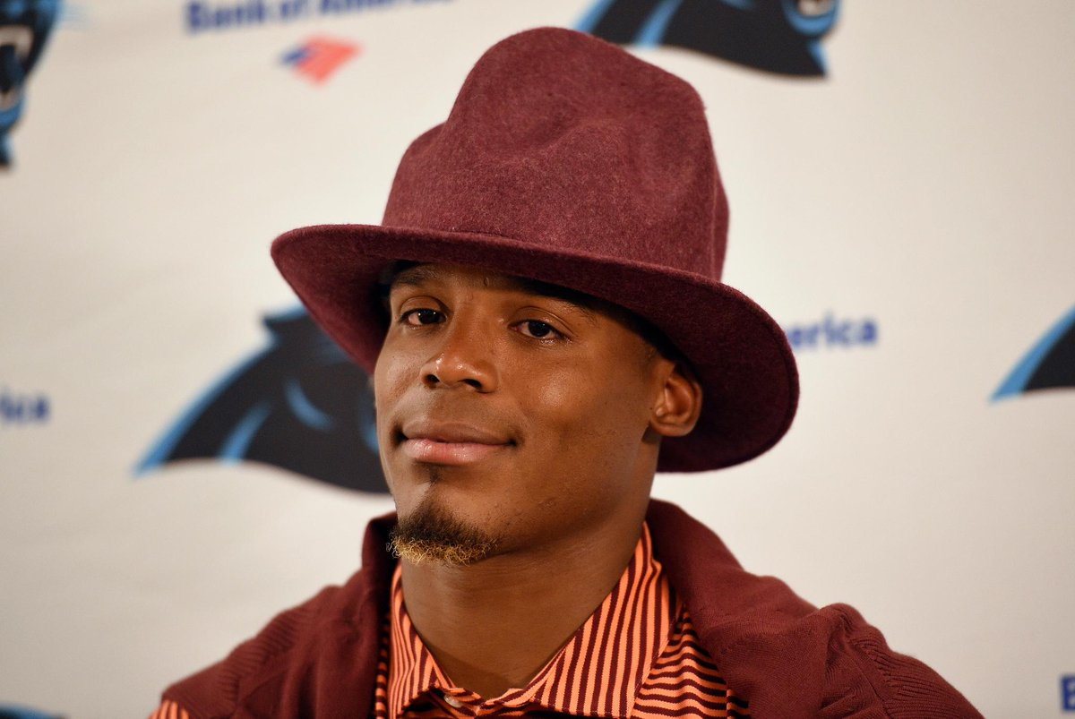 Cam newton showed up to tonight's press conference in a pharrell hat. yup, football season is ...