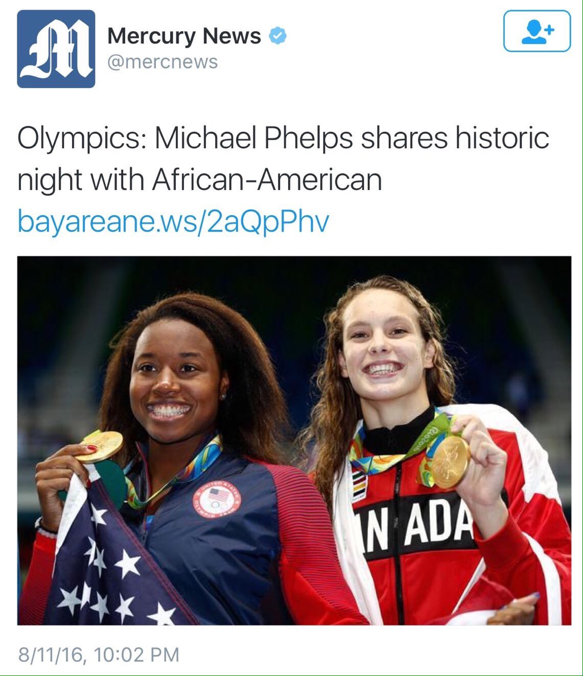 """Michael Phelps wins gold and so does some black chick."" Way to go, Merc! https://t.co/pqWMCnDvGb"