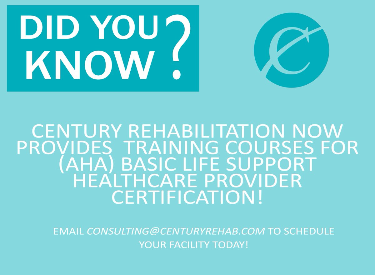 Century rehab on twitter aha bls healthcare provider century rehab on twitter aha bls healthcare provider certification courses have been added to century rehabs menu of services xflitez Gallery