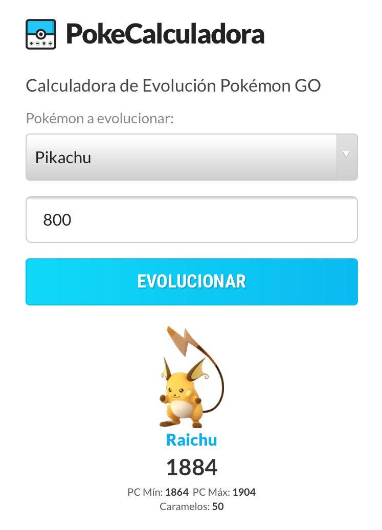 Calculadora de evolucion pokemon go