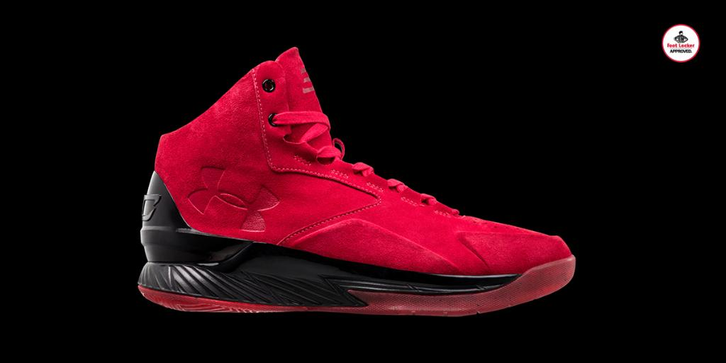 ae4fa5ae9896  footlocker 2 years. inspired by 90 s sportswear the uabasketball curry lux  red suede arrives tomorrow