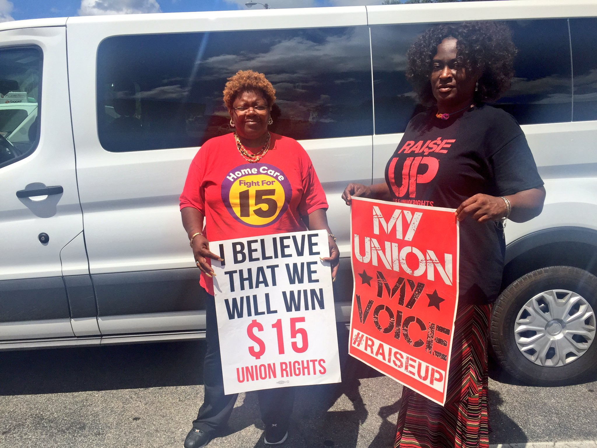 Janet and Hilda: two home care workers in NC ready to hit the road to the #FightFor15 Convention in Richmond, VA! https://t.co/8UfJXItS19