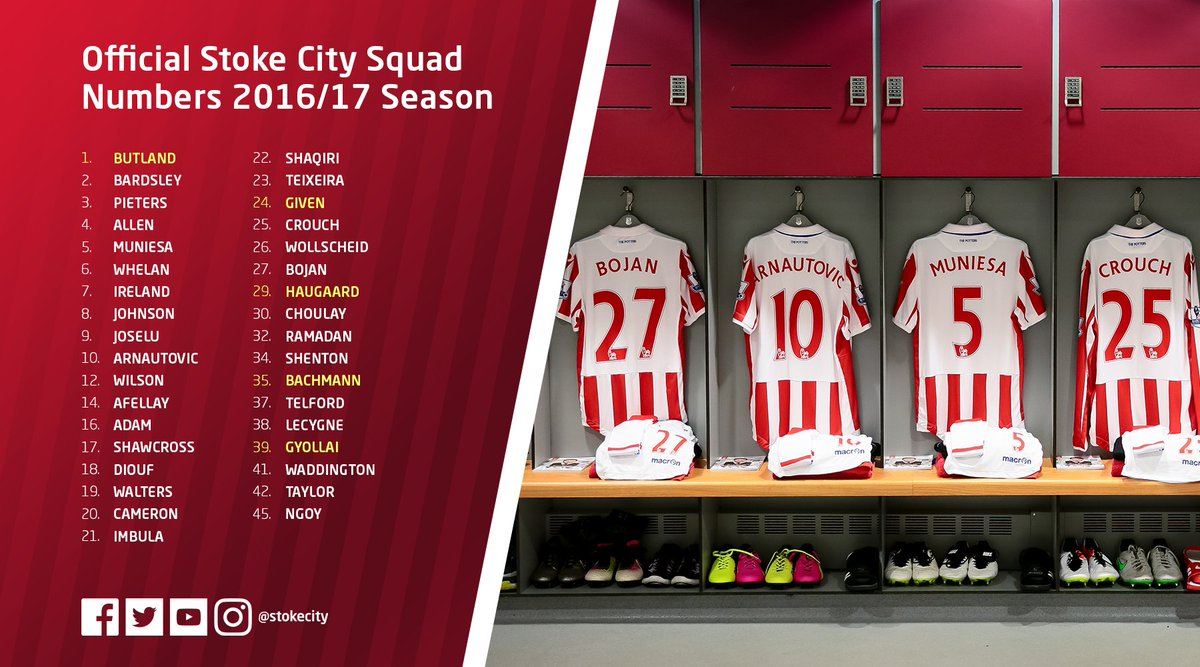 Stoke City Fc On Twitter Scfc Squad Numbers Confirmed For The