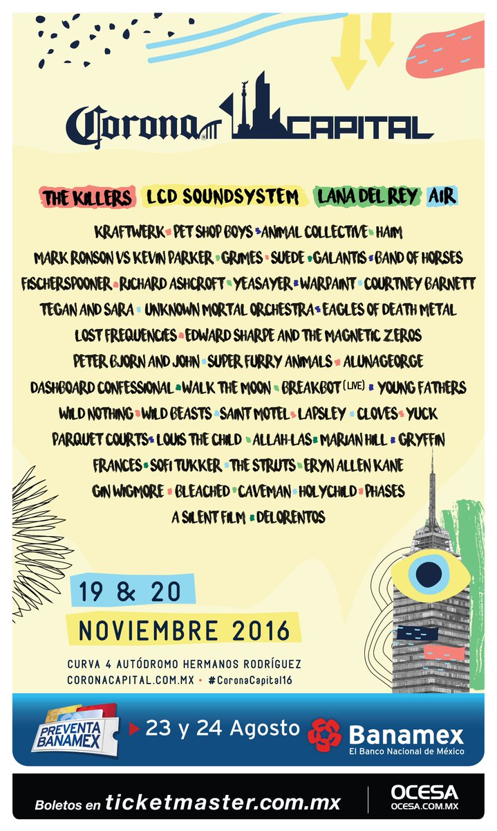 ¡Felicidades @itzy12! Tú develaste el cartel del #CoronaCapital16 https://t.co/D12kebQf20 https://t.co/PSSvGOdUXr