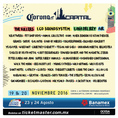 Excited to announce we're playing at @CoronaCapital in Mexico City this November! https://t.co/C7Q6vJ5OgO