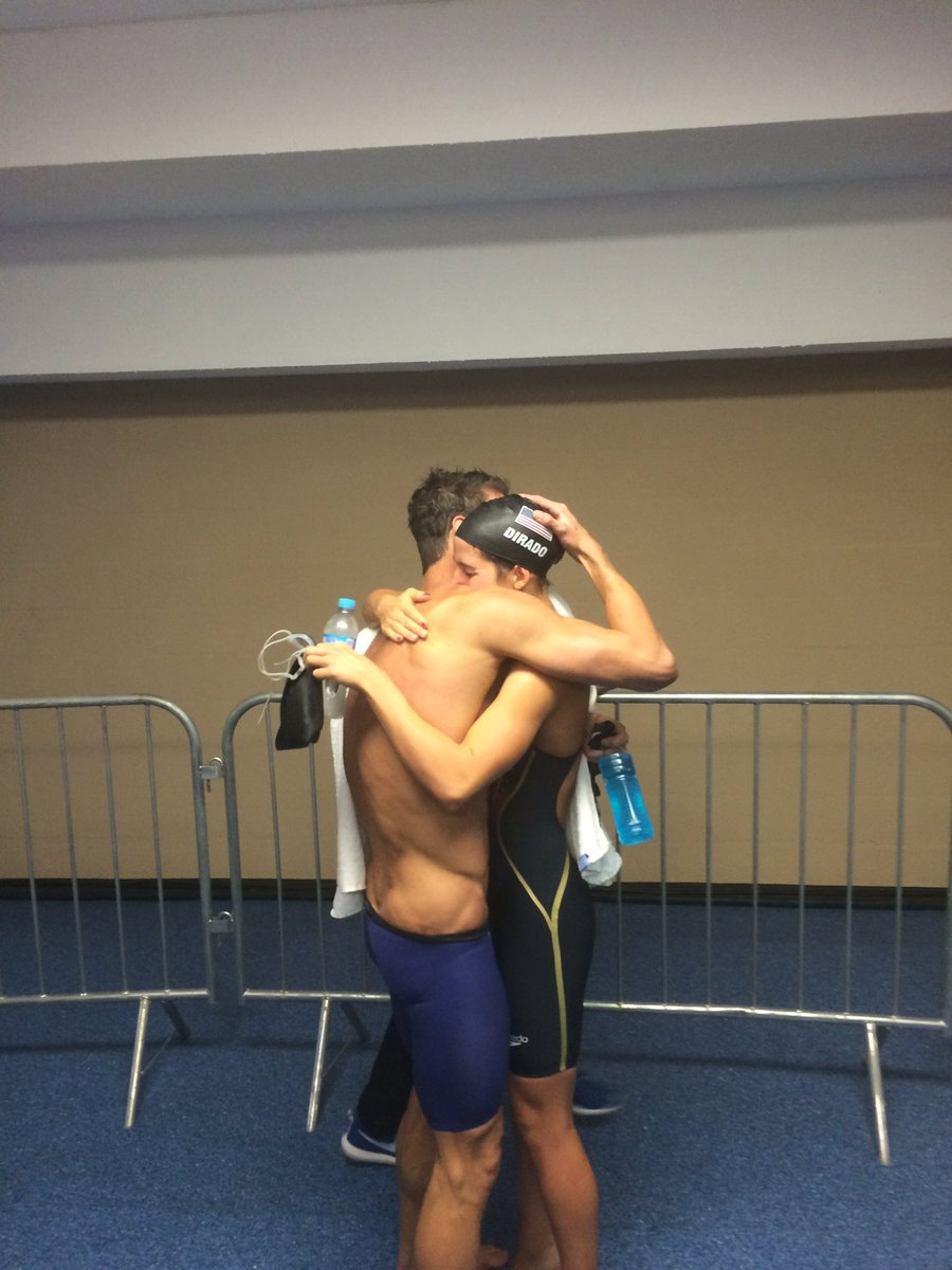 Michael Phelps hugs Maya DiRado after their races. #Rio2016 https://t.co/rrh6Ravs1n