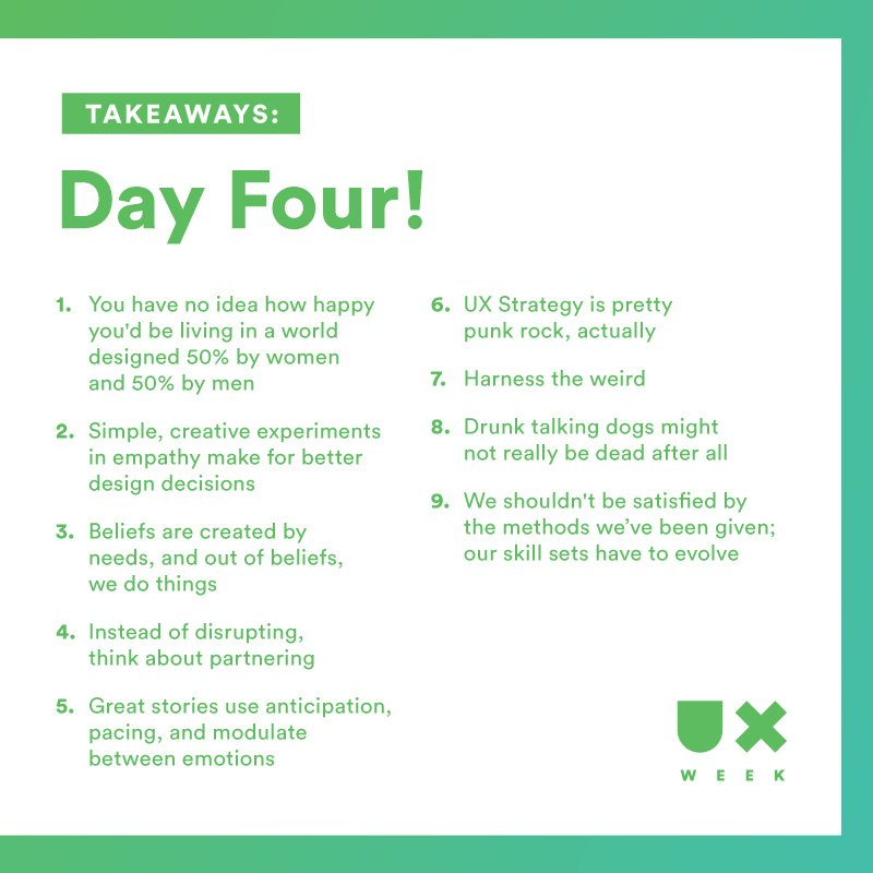 Nine nuggets from today's #UXWeek16 talks.  Cheers! https://t.co/Cz1iZvDEGv
