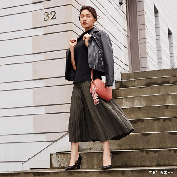 """ユニクロ على تويتر:  """"人気女優の二階堂ふみさんがクールに着こなす、ユニクロの絶品スカート&スカンツ。今季は上質でシンプルに。秋色カラーに彩られたコーデをお見逃しなく。  https://t.co/41CLeomfZ4 #スカート #スカンツ… """""""