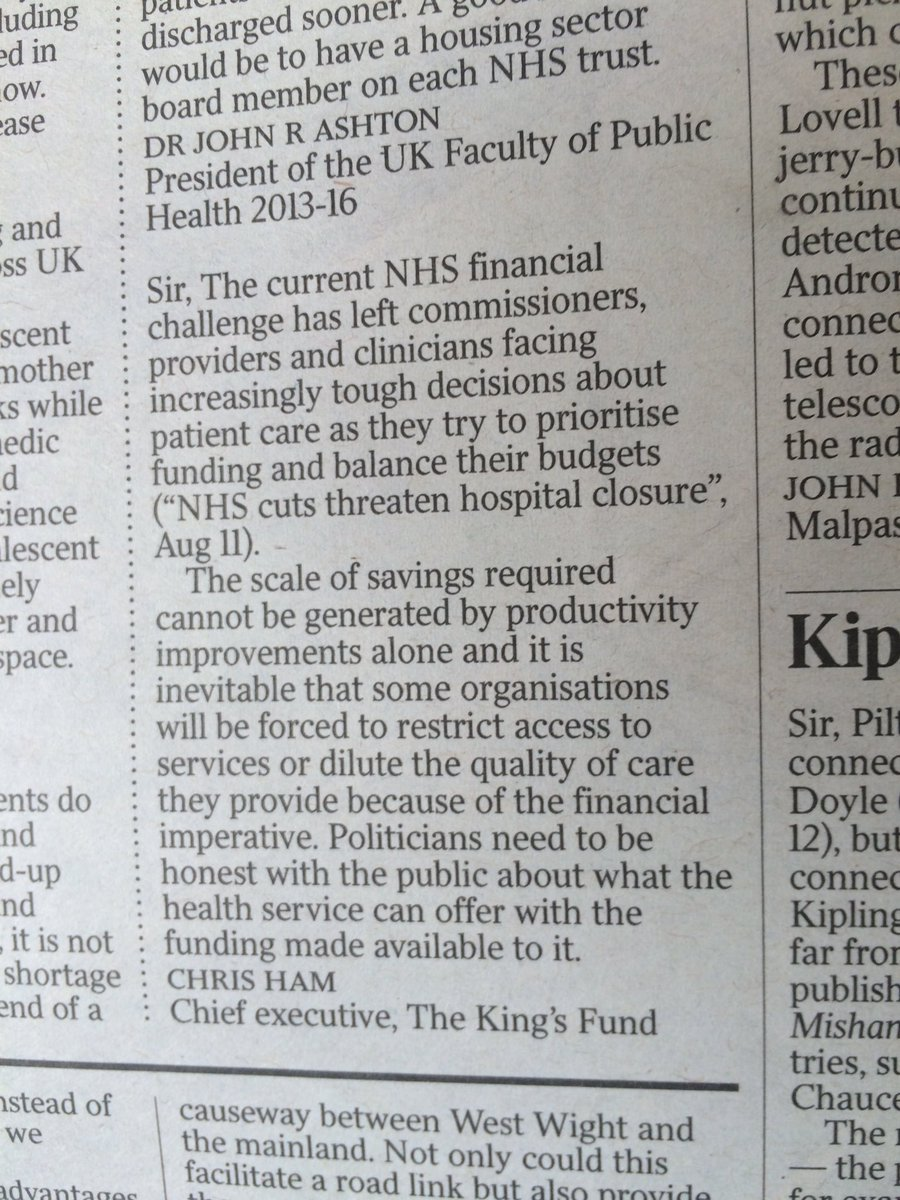 Time for honesty about what NHS can deliver with available funds. My letter in @thetimes today https://t.co/I0q8dMBMNO