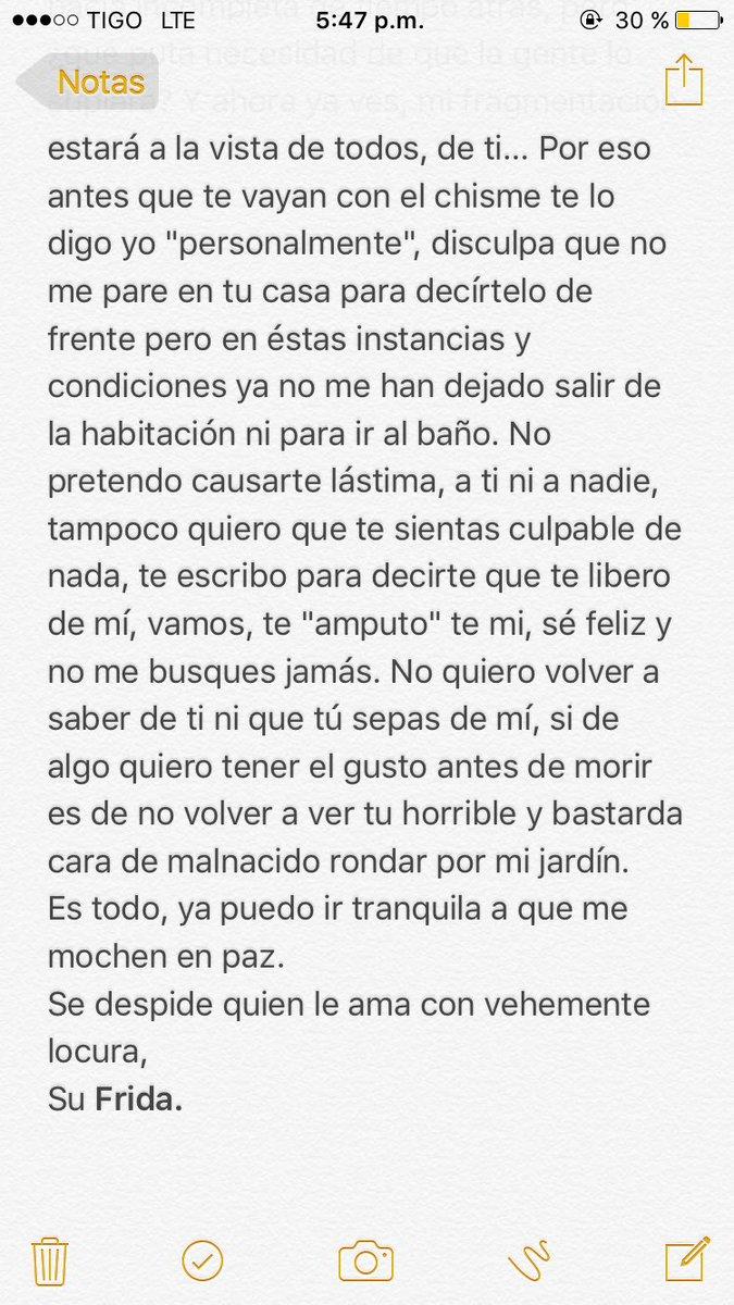 Ghia Alen On Twitter última Carta De Frida Kahlo A Diego Rivera Mucho Que Aprender Y Demasiado Que Valorar Felizsabado