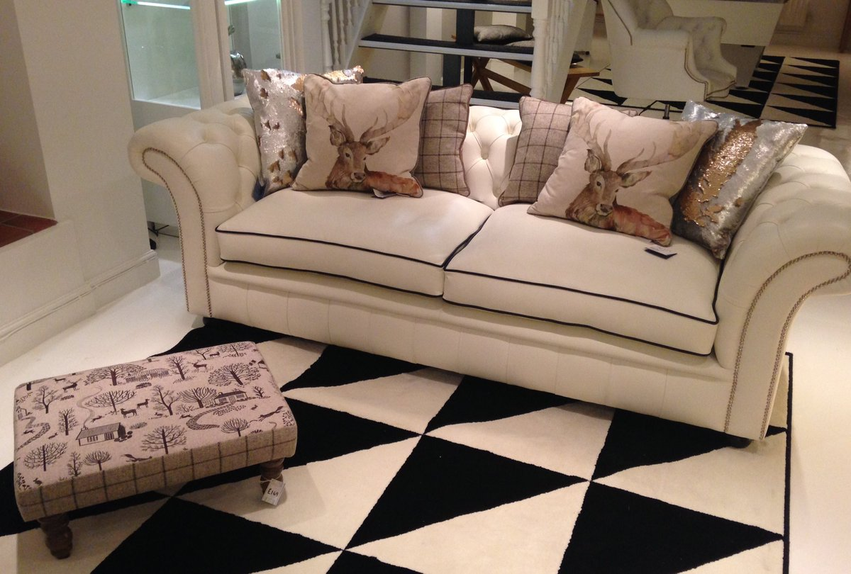 Ltb Furniture On Twitter Chesterfield Sofa In White Leather And Brown Chair With New Cushions Stag Glitter Tartan