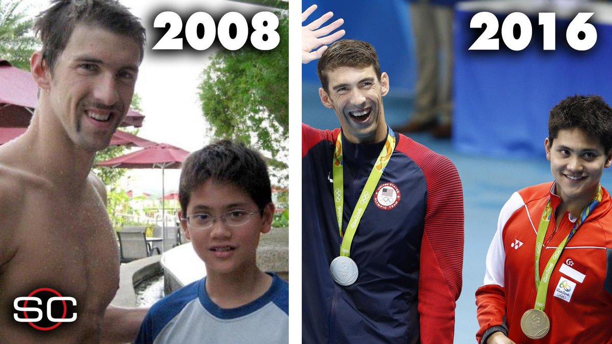 Dream big.  2008: Singapore's Joseph Schooling met idol Michael Phelps  Last night: He beat Phelps in the 100m fly