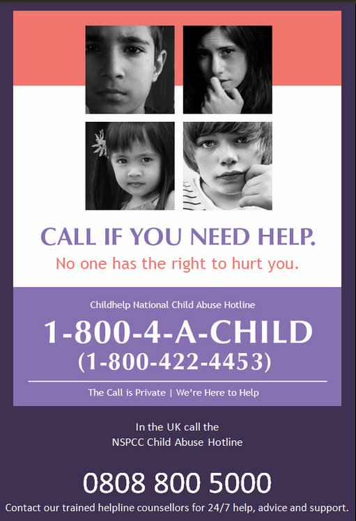 Call if you or someone you know needs help. Report it! #StopChildAbuse w/@helpspreadthis https://t.co/tDdGofS2fp https://t.co/FrnNLDAbzh