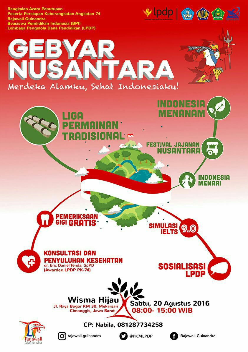 20/8 Gebyar Nusantara!FREE konsultasi beasiswa,IELTS Jajanan dll @PK74LPDP @LPDP_RI  #RajawaliGuinandra @salsabeela https://t.co/3rJxfkCeUQ