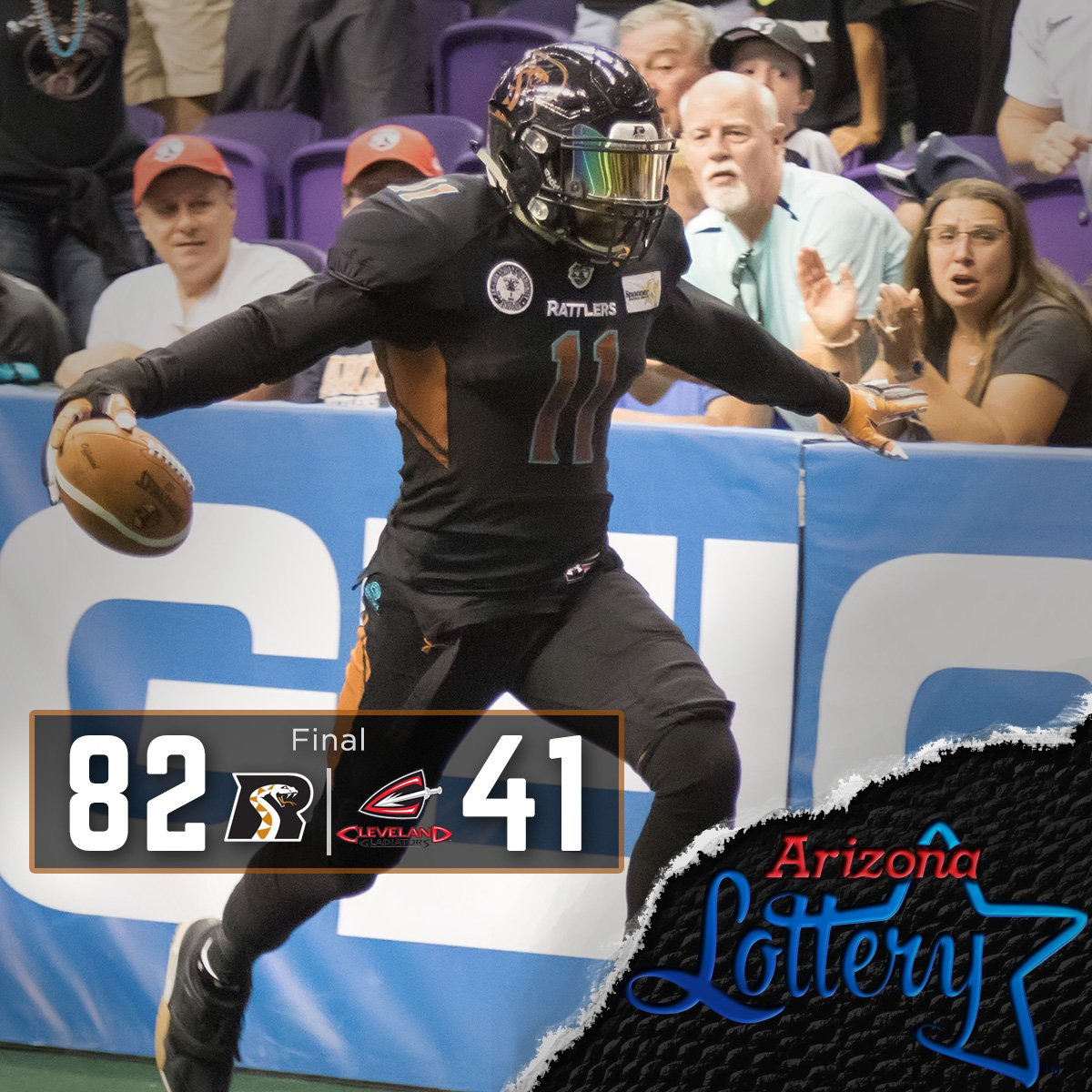 Rattlers punch their ticket to the 2016 Arena Bowl with a convincing 82-41 win, brought to you by @AZLottery https://t.co/QMtoFNW4vK