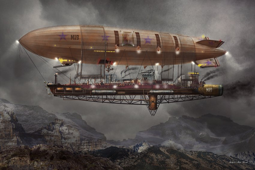 #Artwork Awesome of the Day: 'Airship Maximus' #Steampunk #Illustration by @MikeSavad via @CuriousCogsmith #SamaArt