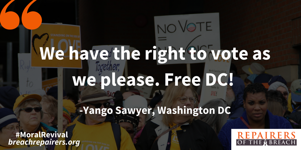 Yango Sawyer calls out politicians for suppressing DC citizens' right to vote. #moralrevival https://t.co/WZMYZ5mzDU