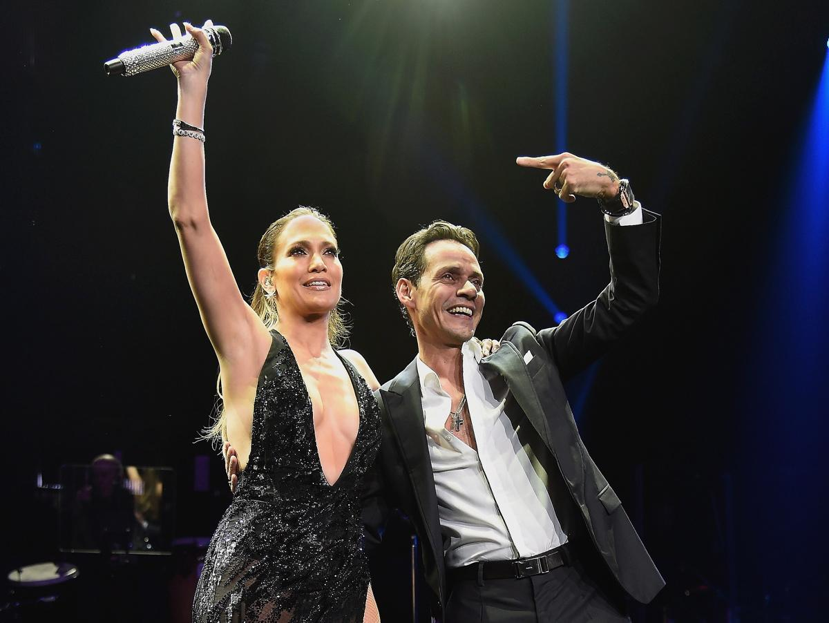 J Lo joins Marc Anthony on stage, shortly after breaking up with her ex Casper Smart