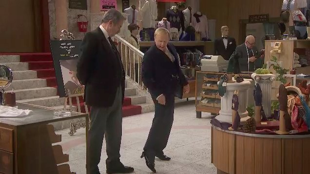 """You're wearing women's shoes on the men's shop floor???""  ""They're a very low kitten heel, Captain Peacock."" #AYBS https://t.co/NJkHO5ex2v"