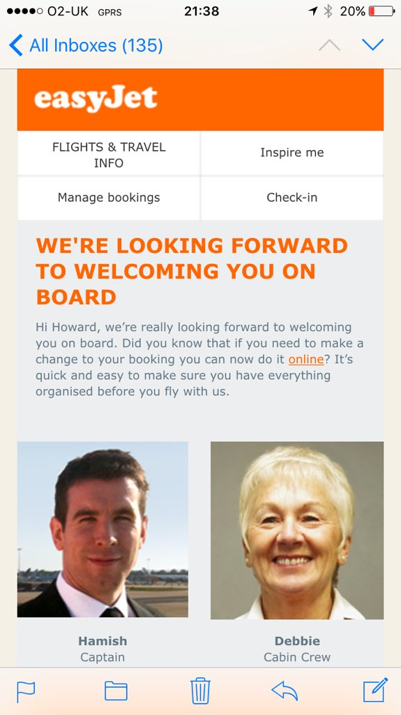 Impressed by latest email from @EasyJet #customerexperience