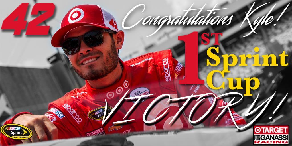 Victory for @KyleLarsonRacin at Michigan! Congratulations on your first @NASCAR victory Kyle. https://t.co/z7e6jQxNNj