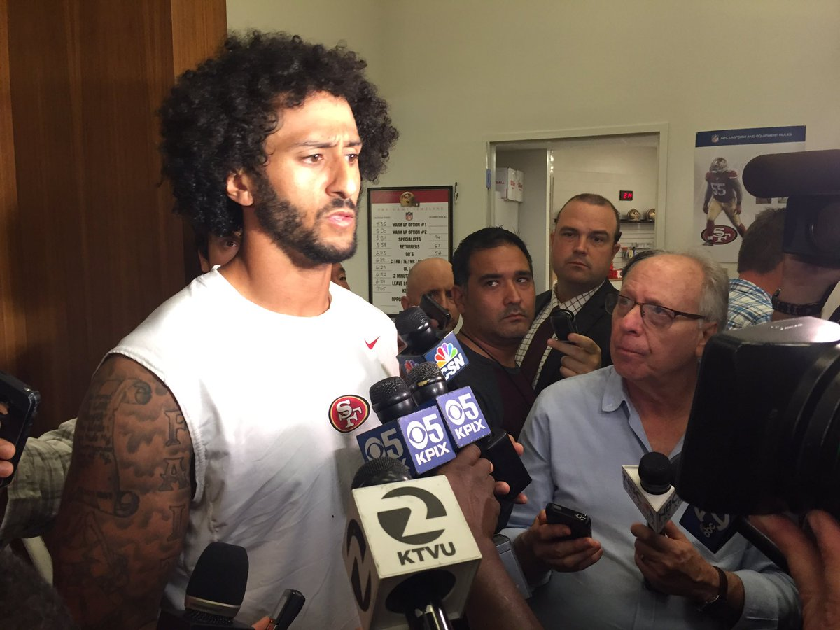 Kaepernick spoke at length about sitting for anthem: