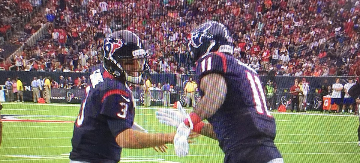 @TomSavage03 and Jaelen Strong celebrate after Strong's catch for touchdown. Texans